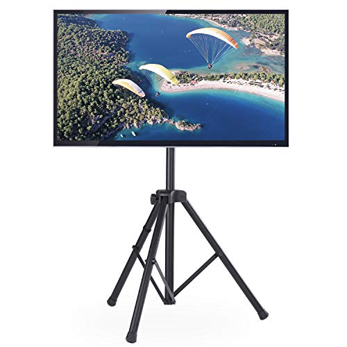 Rfiver Flat Panel TV Tripod Display Portable Floor TV Stand Foldable Monitor Stand with Universal Swivel Mount and Adjustable Height Fits 32