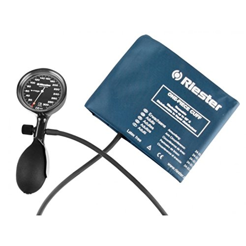 Riester - Hand Aneroid with LF One Piece Adult Cuff, Single Tube, E-mega - - Black