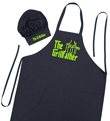 (The Grillfather Apron and Chef Hat Set, BBQ Gift Ideas For Men, Fathers Day Apron)