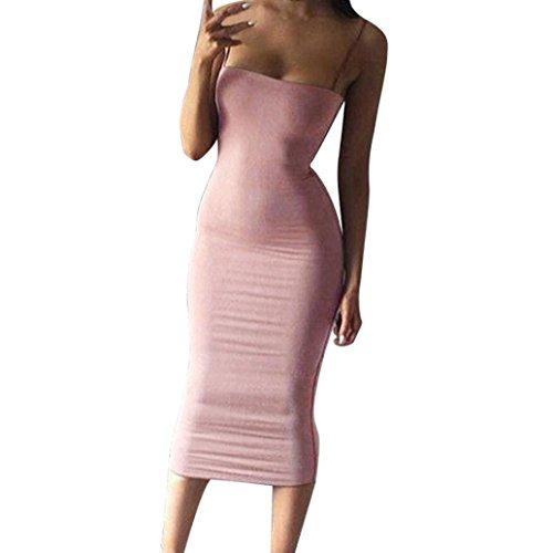 JYC Vestidos Mujer Vintage Elegantes Sin Manga,Suelto Casual cortar,Vestido Recto Volantes los Puños, Mujer Bodycon Delgado Vestir Cóctel Fiesta Clubwear Lápiz Vestir Rosado