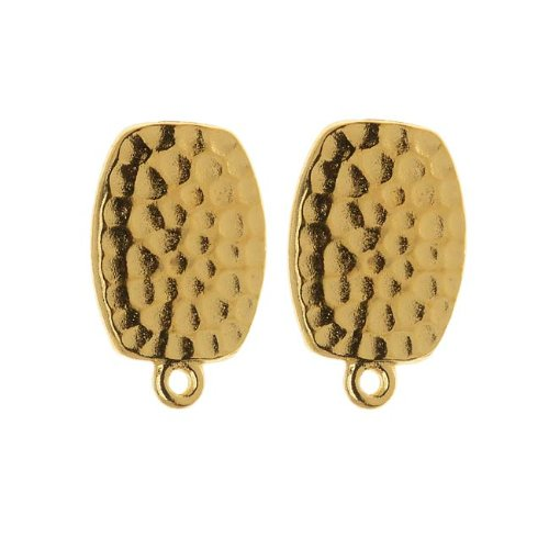 TierraCast 22K Gold Plated Hammered Pewter Clip On Earrings 20mm 1 Pair ()