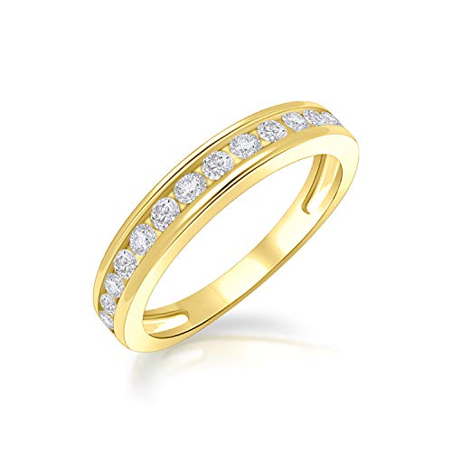 DiscountHouse4you 14k Yellow Gold Plated Simulated Diamond Channel Set Anniversary Wedding Promise Band Ring for Women Girl ()