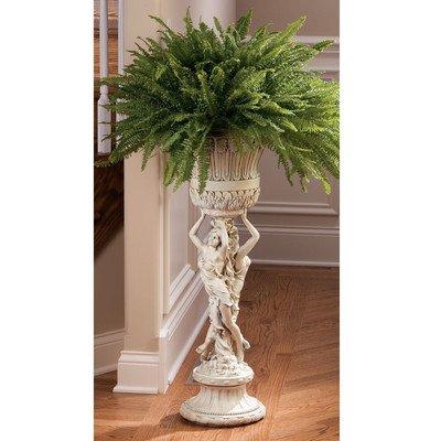 Design Toscano Les Filles Joyeuses Pedestal Column Plant Stand with Urn, 36 Inch, Polyresin, Antique Stone