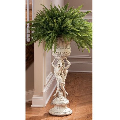 Design Toscano Les Filles Joyeuses Pedestal Column Plant Stand with Urn, 36 Inch, Polyresin, Antique Stone ()