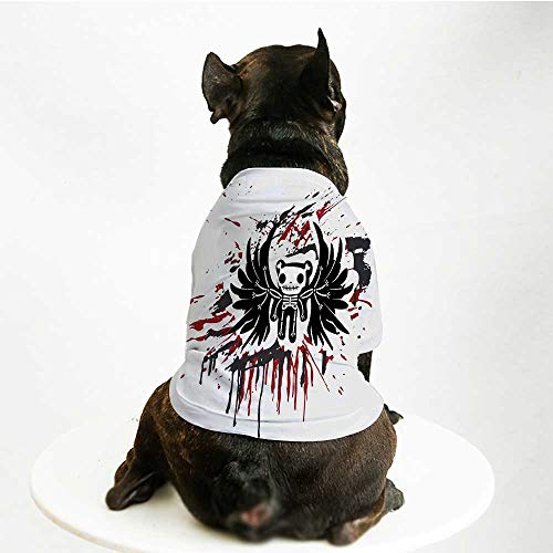 YOLIYANA Halloween Cute Pet Suit,Teddy Bones with Skull Face and Wings Dead Humor Funny Comic Terror Design for Small Medium Large Size Dogs Cats,S