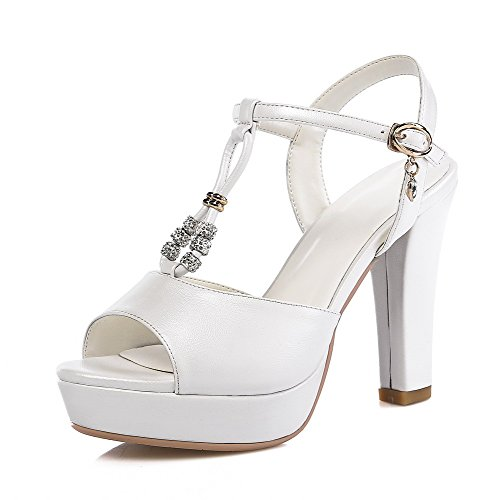 AmoonyFashion Womens Pu Solid Buckle Open Toe High Heels Sandals with Metal Ornament White 55kNq
