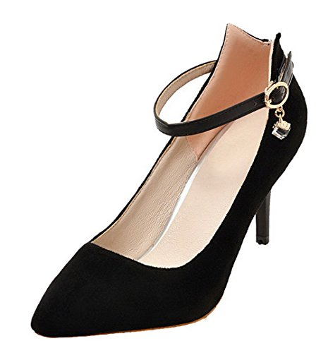 Odomolor Women's High-Heels Frosted Solid Buckle Pointed-Toe Pumps-Shoes, Black, 36
