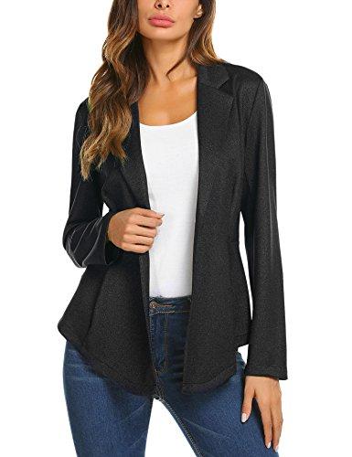 ACEVOG Women Solid Stretch Long Sleeve Open Blazer Jacket A Black (Military Style Blazer)