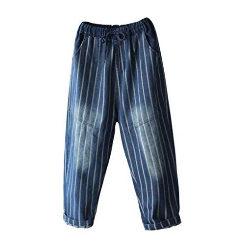 Cordón Rxf Nueve Para Pantalones Azul Vaqueros Con color Metro Algodón Rayas Tamaño Harlan Azul De Mujeres Holgados Sueltos 4P84qr