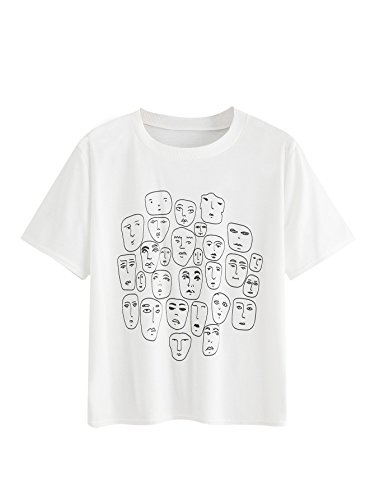 Romwe Women's Graphic Printed Cartoon Portrait Short Sleeve Casual T-Shirt Top White Medium