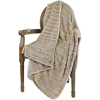 """Bertte Ultra Velvet Plush Super Soft Decorative Stripe Throw Blanket-50""""x 60"""", Light Beige"""