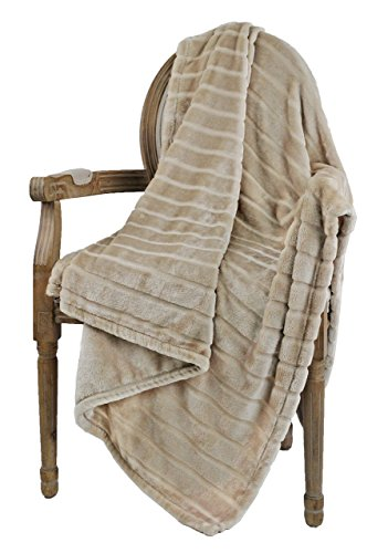 Lowest Price! Bertte Ultra Velvet Plush Super Soft Decorative Stripe Throw Blanket-50x 60, Light B...