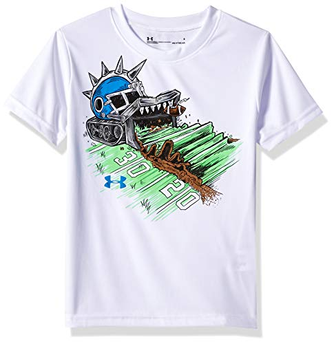 (Under Armour Boys' Little Short Sleeve Graphic Tee, Football Destroyer White)