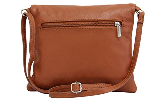 de Moda Coñac de italiana NL610 bandora cuero mujer embrague hombro de AMBRA pequeñas bolso suave bolsas RZqdwq7