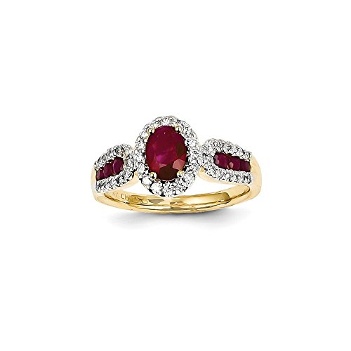 Size 6.5 - Solid 14k Yellow Gold Diamond & Simulated Ruby Ring (Solid Yellow Gold Ruby Ring)