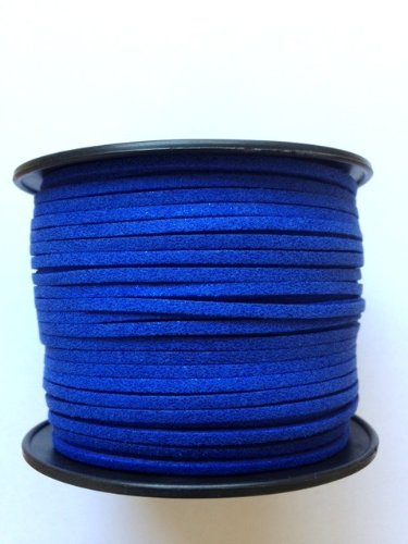 - Kourtney's Crafts Royal Blue Metallic Glittered Faux Suede Leather Cord 3mm 100yds per roll DIY