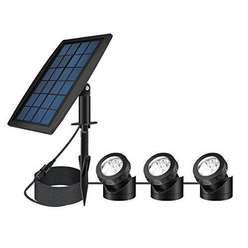 FEIFEIER Garden Spotlight Landscape Projection Light Colorful RGB Solar Powered LED with 3 Lamps For Pool Pond Outdoor Decoration Lighting