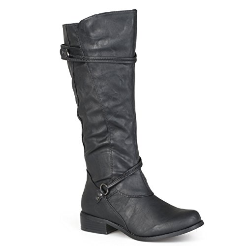 Journee Collection Womens Regular Sized and Wide-Calf Ankle-Strap Buckle Knee-High Riding Boots Black, 9 Regular US