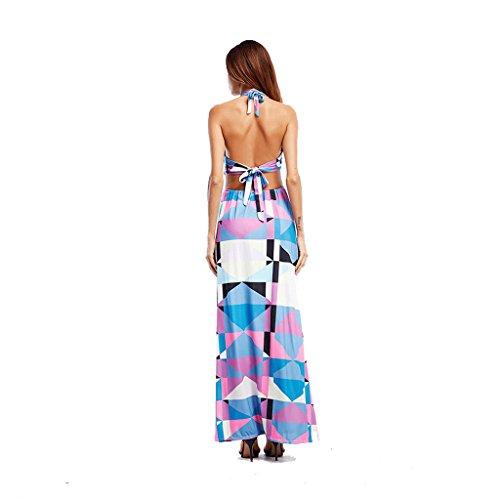 con da estivo M lungo donna vestito che lunghe stampa il da ad Abito WANG alta definizione dimensioni backless maniche Vestiti appendono xtqwXC1