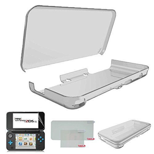 Hikfly Ultra Clear Crystal TPU Cover Shell for Nintendo New 2DSXL/LL(2017 Release) Transparent Protective Case Anti-Scratch Housing with High Clear PET Film Screen Protector(Clear Black)