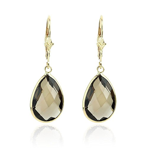 14K Yellow Gold Gemstone Earrings With Dangling Pear Shaped Smoky Quartz by amazinite