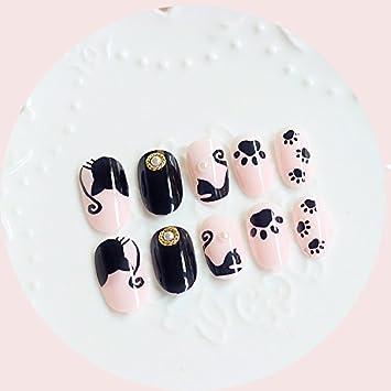 24 pcs Cartoon Negro Gatos falsas uñas Oval largo rosa Cat Paw Cute Full uñas consejos con pegamento adhesivo con diseño de niña regalos: Amazon.es: Belleza