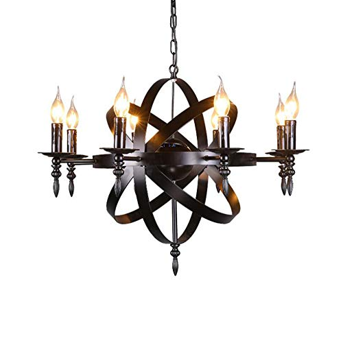 X-DENG Medieval Style Candle Light in Medieval Castle Style with Wrought Iron Ceiling in Living Room Or Country - Iron Light Cast Fixtures
