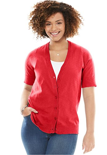 Woman Within Plus Size Cool Cotton Cardigan Sweater