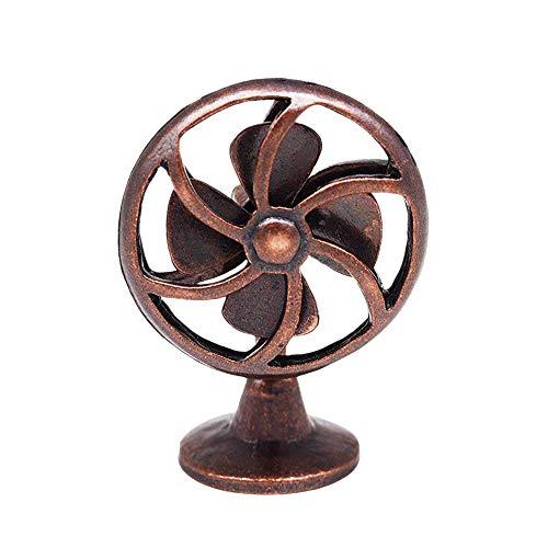 Odoria 1:12 Miniature Old Fashioned Bronze Fan Vintage Furniture Dollhouse Decoration Accessories