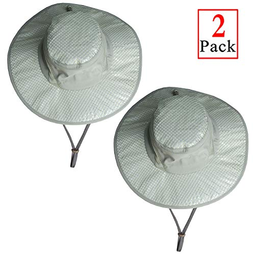 Iceyyyy 2 Pack Arctic Evaporative Cooling Hat Sunscreen Cooling Hat-2019 New Cooling Sun Hat, Ice Cap Heatstroke Protection Cooling Cap Wide Brim Hat for Men ()