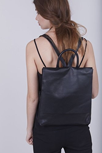Handcrafted Modern Chic Soft Casual Black Nappa Leather Slim Laptop Backpack Travel Carry-On Rucksack by Lady Bird Bags