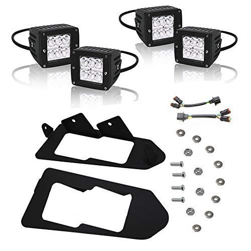 - Dasen Front Headlight Mount Brackets Kit w/4 PCS LED Cube Lights Pod & Wiring Connector Off-Road Fits 2013-2019 Polaris Ranger 900 XP & CREW