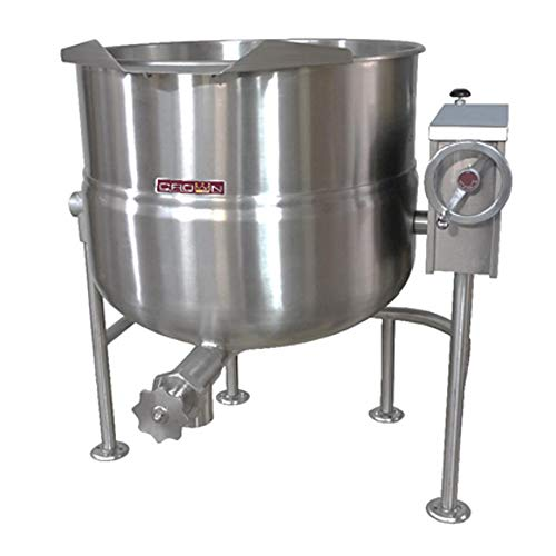 Crown DLT-100 Direct Steam Tilting Kettle with 100 Gallon Capacity & 2/3 Jacket Direct Steam Tilting Kettle