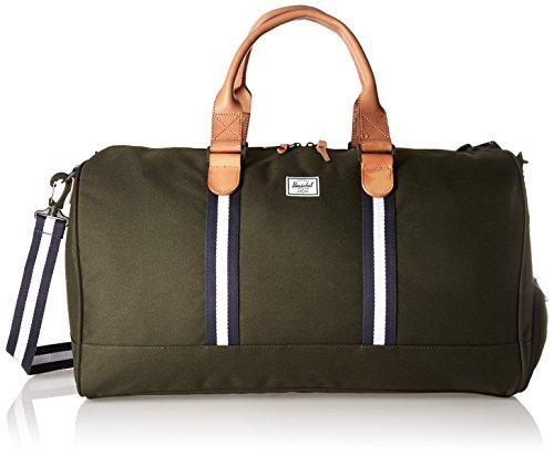 Herschel Supply Co - Bolso de viajeNovel - Bolsa de deporte, Jungle Floral Green/Tan Synthetic Leather (Verde) - 10026-01055-OS Verde (Forrest Green)