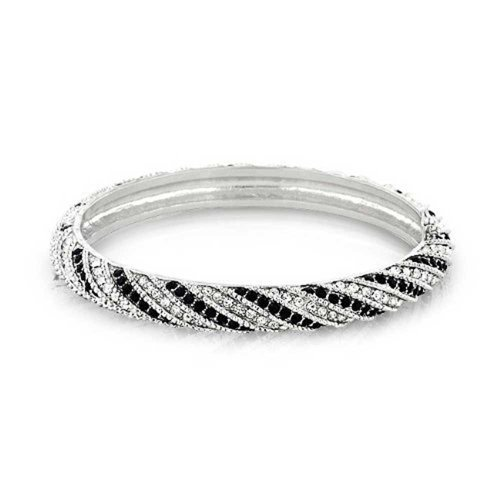 - Black White Crystal Twist Bangle Bracelet for Women Prom Wedding Hinge Silver Plated Brass