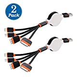 [2 Pack] USB Cable, Retractable 4 in 1 Multifunctional Universal USB Charger Cable for iPhone 7, 7 Plus, 6s, 6s Plus, SE/ 5 / 5S / 5C, 4S 4,iPad Mini, Galaxy S4,S5,S6 (Black&Orange)