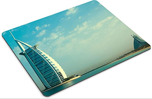 Burj Al Arab Luxurious Hotel Dubai Skyline Punktail's Collections Custom Imaged Mouse Pad. High Quality Eco Friendly Cloth with Neoprene Rubber Backing. Customized and Made to Order. 9 7/8 Inch (250mm) X 7 7/8 Inch (200mm) X 1/16 Inch (2mm). Desktop, Laptop, or Gaming Mouse Pad.
