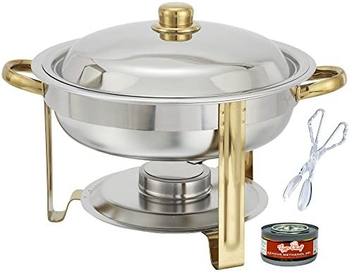 Tiger Chef 4 Quart Round Chafing Dish Buffet Warmer Set, Gold Accented Chafer, Includes Free Chafing Fuel Gel Cans Burns 2.5 Hours and Plastic Serving Tongs
