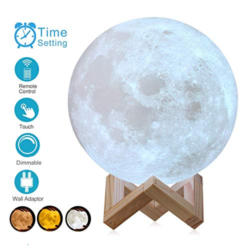 Control Map - AED 3D Printed Moon Lamp with Stand, Touch & Remote Control, Three Colors, Dimmable, USB Rechargeable, Lunar Moon Night Light with UL Listed Adaptor, Christmas Thanksgiving Gifts (7.1INCH)