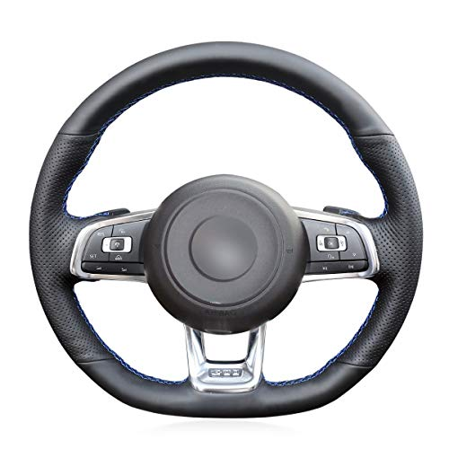 MEWANT Black Genuine Leather Car Steering Wheel Cover for Volkswagen Golf 7 GTI Volkswagen VW Golf 7 GTI Golf R MK7 VW Polo GTI Scirocco 2015 2016(with Shift Paddles Buy - Vw Scirocco Shift