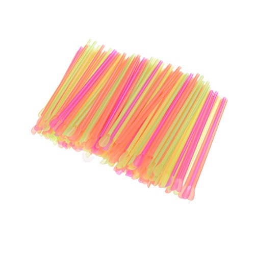 Coscosx 200 PCS Spoon Straws Plastic Multicolor, 8' Length