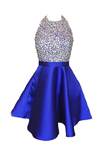 LCRS Juniors Short Prom Dresses with Pockets Satin Beaded Halter A-Line Formal Homecoming Dress 8 Royal Blue