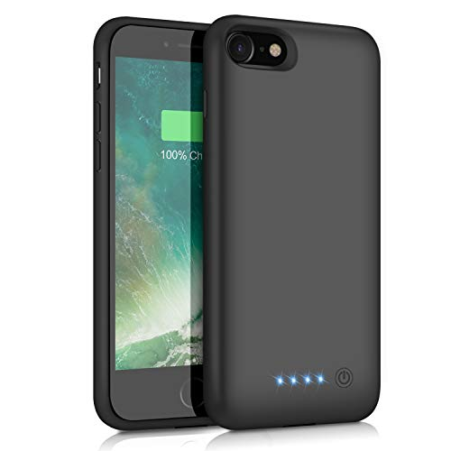iPhone 8/7 Battery Case 6000mAh, HETP Portable Rechargeable Extended Battery Pack for Apple iPhone 7 & iPhone 8 Charging Case Protective Backup Power Bank (4.7 inch)- Black by HETP