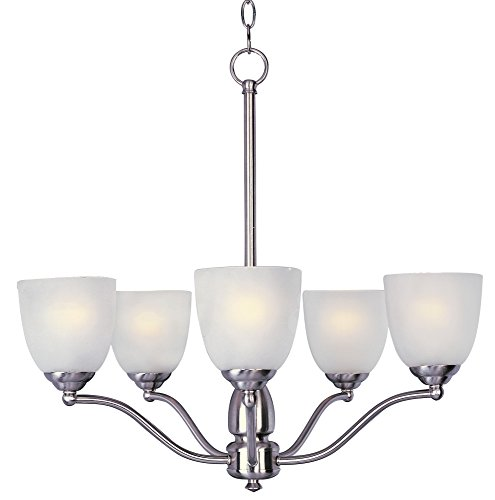 Maxim 10065FTSN Stefan 5-Light Chandelier, Satin Nickel Finish, Frosted Glass, MB Incandescent Incandescent Bulb , 100W Max., Dry Safety Rating, Standard Dimmable, Glass Shade Material, 3450 Rated Lumens