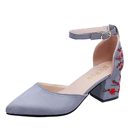 Strap Ankle High Toe Women Square Heel Pointed FGHHRYT Embroidered Brown Shallow Flower Heel Shoes UB8zz6wnq