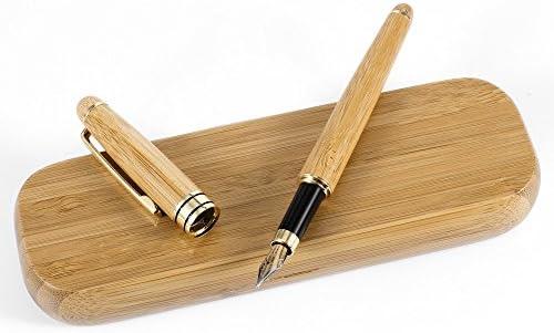 MaleDen - Estuche para pluma estilográfica, diseño vintage, con caja de regalo, tamaño mediano y tinta de recambio convertidor para escritura caligrafía, color bambú: Amazon.es: Oficina y papelería
