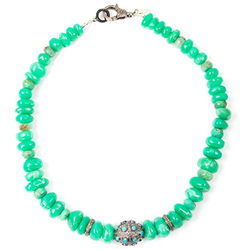 Pavé Diamond & Turquoise Ball/Spacer Focal with Green Chrysoprase Tumbled Nugget Necklace - 17.5 inches Long Handmade Necklace by Miller Mae Designs (Green Turquoise Stones Natural Nugget)