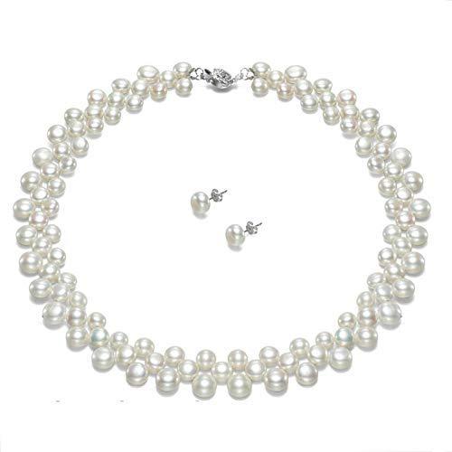 Collana perle con orecchini argento 925