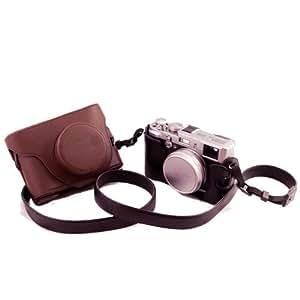 Funda dura de piel de dos partes con orificio para trípode adecuada para cámaras Fuji FujiFilm Finepix X10 X20(en color marrón