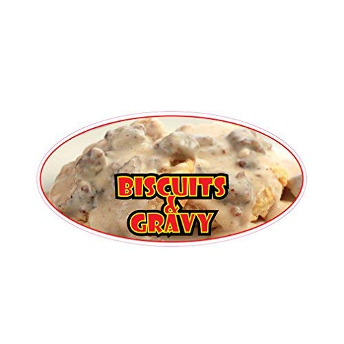 Biscuit & Gravy Concession Restaurant Die-Cut Window Static Cling Inside Glass Vinyl Sticker 36 inches on Longest -